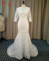 Jark Tozr Vestidos De Noiva Half Sleeve Button Back Bride Gowns Ivory Gorgeous Winter Trumpet Wedding