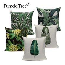 Cushion-Cover Pillow-Case Tropical-Plant Sofa Decorative-Throw Home-Decor Cotton Linen