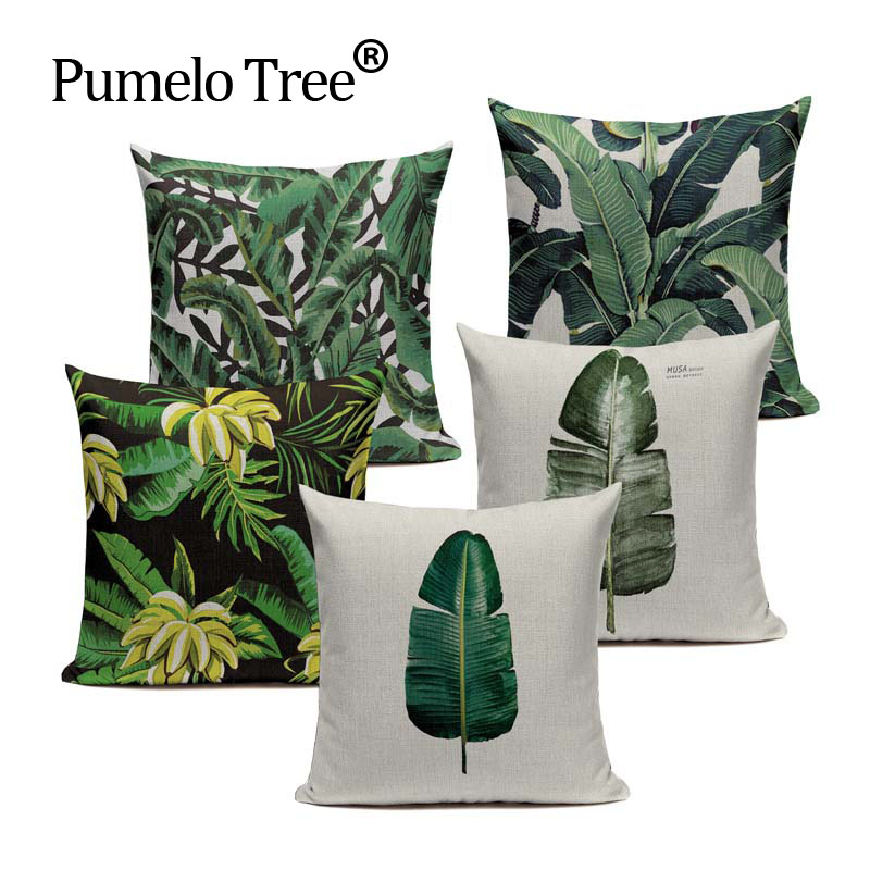 Us 2 99 40 Off Fashion High Quality Cotton Linen Africa Tropical Plant Banana Leaf Decorative Throw Pillow Case Cushion Cover Sofa Home Decor In