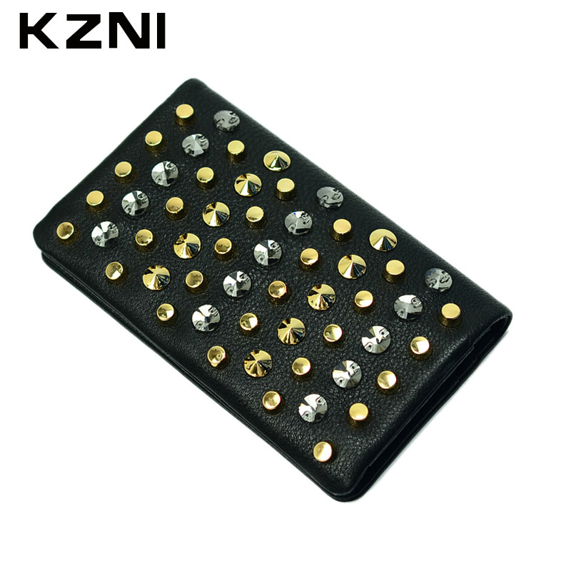 KZNI Leather Womens Wallets and Purses Long Wallet for Women with Zipper Day Clutches Money Bag Black Woman 2135
