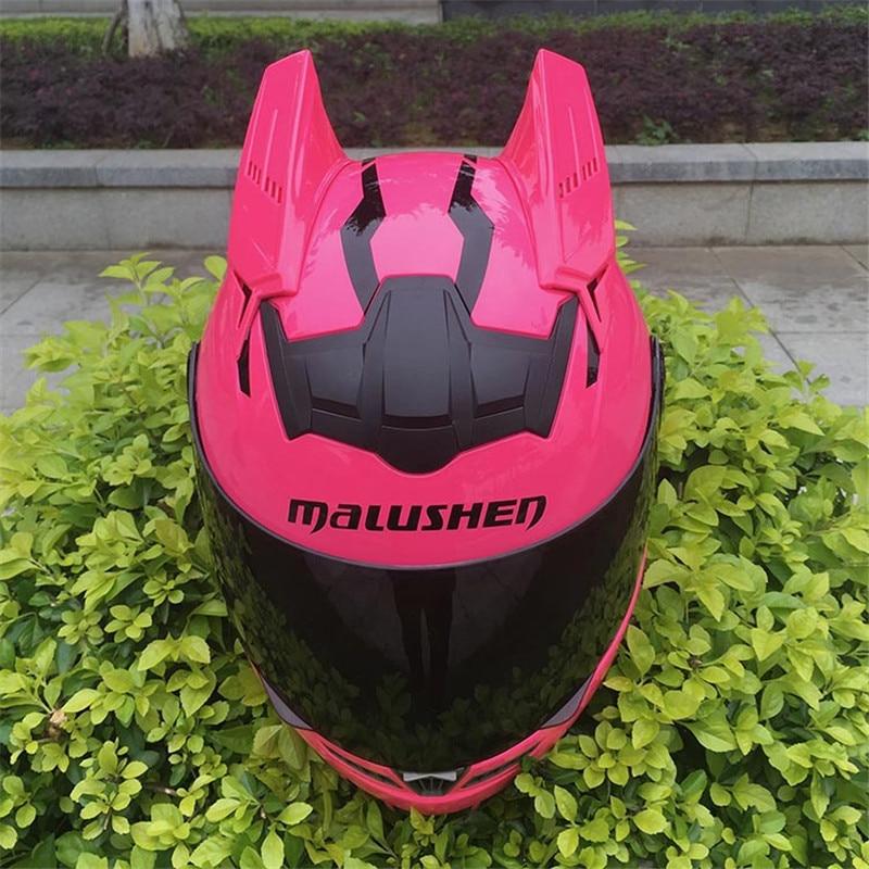 цена на MALUSHEN Motorcycle Helmet Women Moto Helmet Moto Cat Helmet Personality Full Face Motor Helmet 5 Colors Pink Green Blue Orange