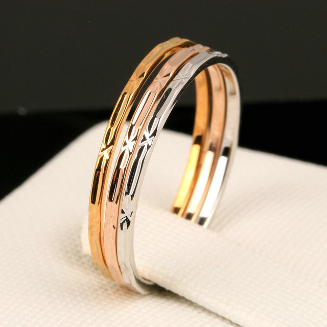 Simple Fashion Three Color White/Yellow/ Rose Gold Color Men Women Wedding  Ring Set