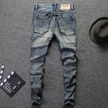 2019 Fashion Designer Men Jeans Slim Fit Blue Color Cotton Denim Pants Ripped Jeans For Men Patch Design Classical Jeans homme все цены
