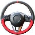 DG Black Leather Red Leather Car Steering Wheel Cover for Mazda CX-5 CX5 Atenza 2014 New Mazda 3 CX-3 2016