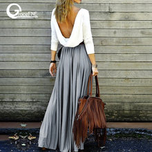 Vintage gray long skirt Summer Beach Elastic high waist Pleated Skirts Female School Maxi Skirt fashion clothing ,gift ideas(China)