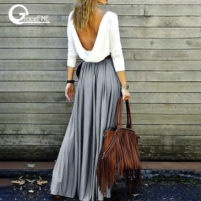 98106bf264 Vintage gray long skirt Summer Beach Elastic high waist Pleated Skirts  Female School Maxi Skirt fashion clothing ,gift ideas