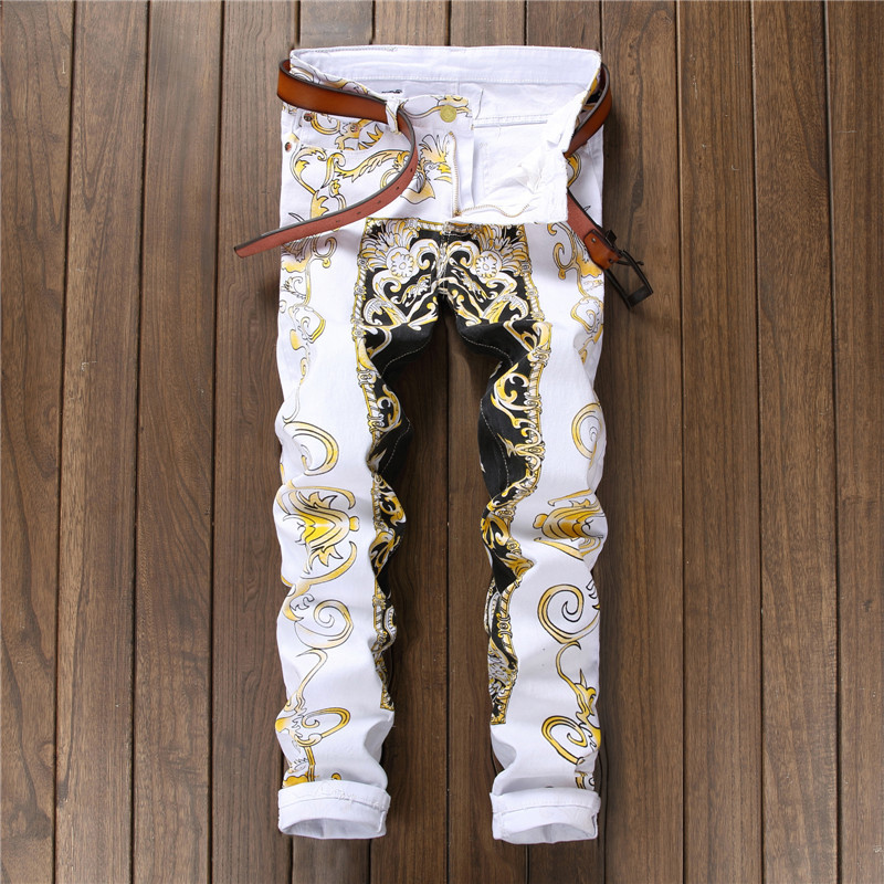 New 2018 printed trousers mens self-cultivation youth long pants fashion pants night clubs pants 584