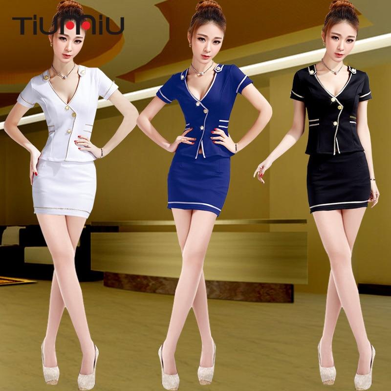 Women Sexy Skirt Bodysuit Mini Dress Short Sleeve Aviation Uniform Office Lady KTV Nightclub Sauna Foot Therapy Workwear Uniform