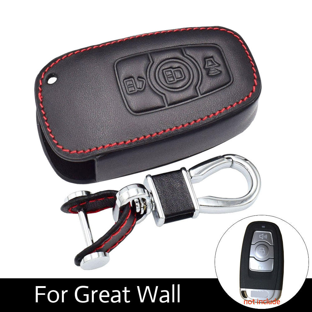 Leather Car Key Cover For Great Wall Haval Hover H6 2015 C50 Hoist 3 Buttons Smart Remote Fob Shell Case Keychain Protector Bag