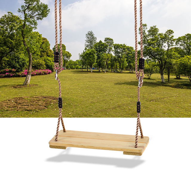2018 New Outdoor Camping Hanging Swing Wooden Seat Playground Backyard With Rope