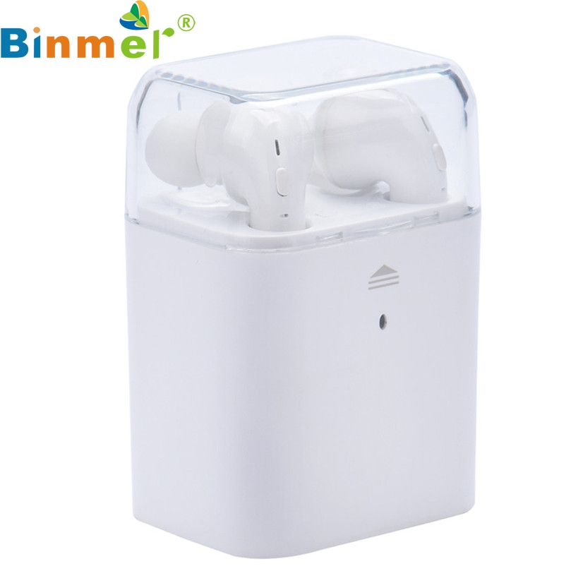 Factory Price Binmer NEW Wireless Bluetooth In-ear Earphones Stereo Headset for iphone 7 Airpods Android Free Shipping Wholesale carkit mini wireless bluetooth 2 in 1 in ear earphones car phone charger usb dock stereo headphones for dacom iphone 7 airpods