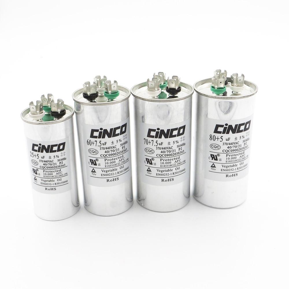 Tipo duplo de Alumínio Pode CBB65A-1 80/70/60/55/50/45/40/35 /30/25 UF Combinar + 7.5/5/2.5/1.5 uF Capacitor Executar P2 370VAC 440VAC CBB65