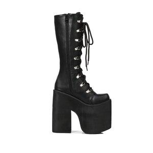 Image 3 - 16cm Topuk Motosiklet Botları Siyah Diz Yüksek Çizmeler Punk Cosplay Çizmeler Moda Goth Takozlar Platformu Yüksek Topuklu çizmeler kadın ayakkabıları