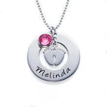 Customized Name Round ShapeNecklace Personalized Baby Feet Pendant Birthstone Charm Necklace, Fashion Necklace