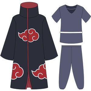 Image 2 - Anime Shippuden Naruto Cosplay Uchiha Itachi Kostüme Unisex Phantasie Partei Uniform Red Cloud Mäntel Volle Set für Halloween