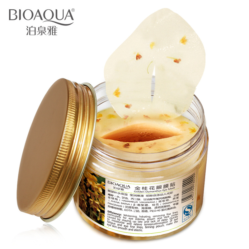 BIOAQUA 80pcs/bottle Gold Osmanthus Eye Mask Collagen Gel Whey Protein Sleep Patches Remove Dark Circle Mousturizing Eye Mask qnt протеин qnt delicious whey protein крем печенье 2 2 кг