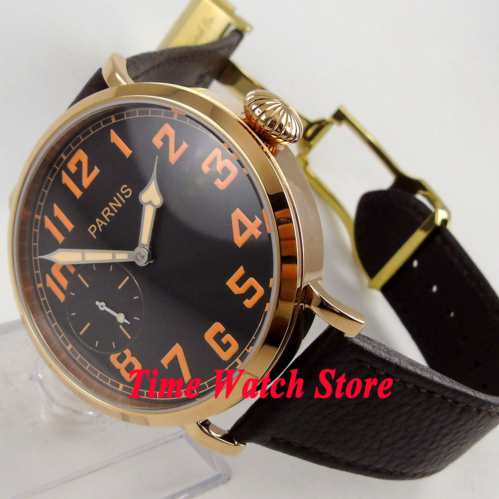 Parnis montre 46mm or caseblack cadran orange numéros déployante fermoir mécanique 6497 main mouvement à remontage automatique mens montre 405