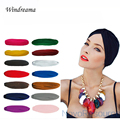 Top Quality Big Satin Bonnet Turban Yoga Cap Fashion Accessory Elastic Skullies & Beanie Women Hat Girls Bandanas 13 Colors