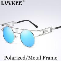 2017 New Fashion Brand Gothic Steampunk Sunglasses Men Women Fashion Brand Designer Metal Frame Round Sun