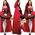 De alta calidad sexy caperucita roja disfraz adulto pequeño redcap cosplay dress 2016 nueva ropa de halloween para las mujeres