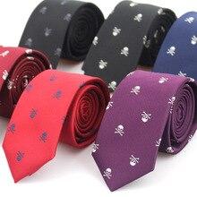 Новые повседневные тонкие мужские галстуки с черепом, классические галстуки из полиэстера, модные мужские галстуки для свадебной вечеринки, мужской галстук, галстуки