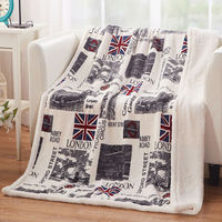 Fashion style downtown city pictures withLondon Tower Bridge 100% flannel double face air condition130*160cm nap blanket