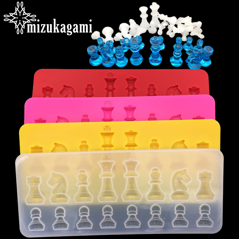 1pcs UV Resin Jewelry Liquid Silicone Mold International Chess Resin Charms Molds For DIY Intersperse Decorate Making Jewelry