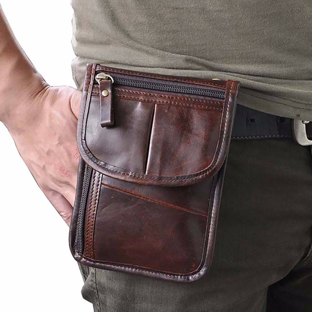 Oil Wax/Crazy Horse Genuine Leather Men Fanny Waist Pack Vintage Cross Body Shoulder Bag Male Belt Purse Case Mobile Phone Bags