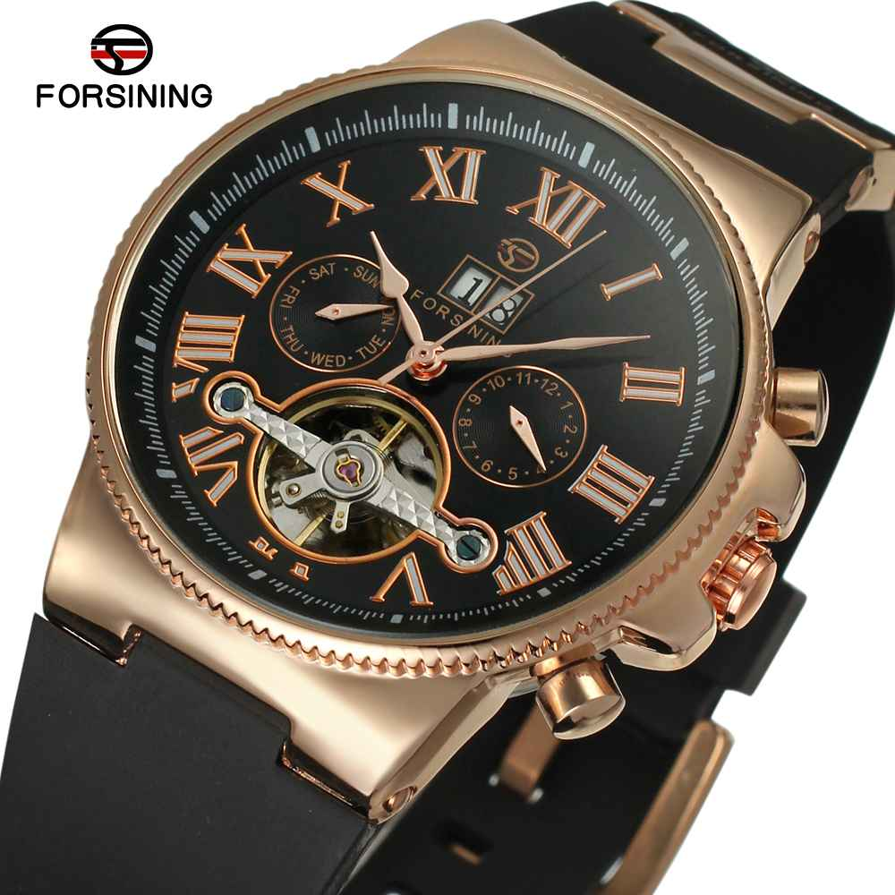 FORSINING 2017 Chic Fashion Men Auto Mechanical Watch Tourbillon Golden Bezel Rubber Strap Sub-dial Calendar Sport forsining men luxury mechanical watches men s sports tourbillon automatic watch rubber strap auto date week month calendar clock