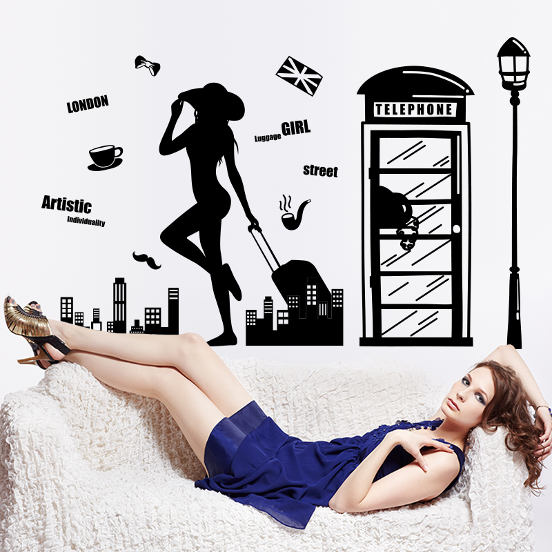 [SHIJUEHEZI] Sexy Girl Traveller Telephone Booth Wall Sticker Black Color Street Lamp Mural Art for Living Room Decoration