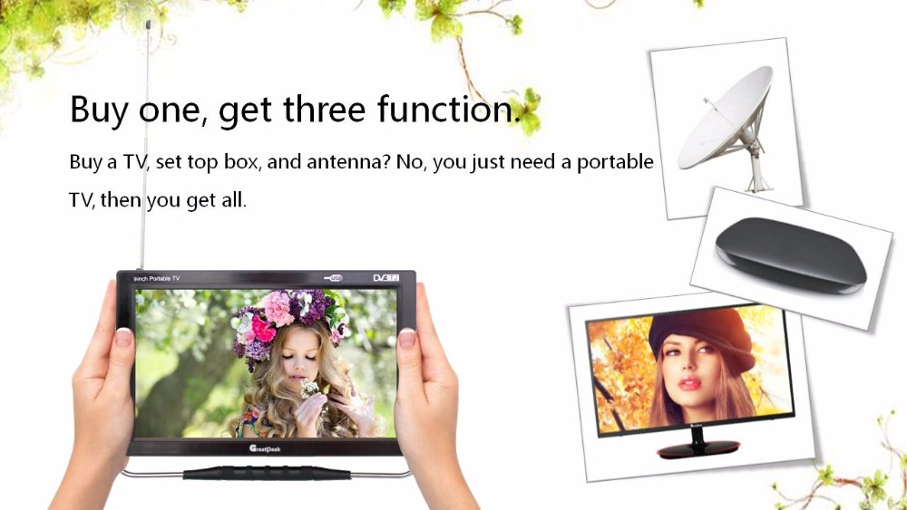 Free shipping excellent 12v LED portable digital tv dvb t2 tv mpeg4 battery mini television 7 inch portable led tv television dvb t mpeg4 pvr black