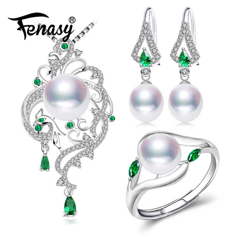 FENASY Pearl Jewelry Sets Pearl Pendant Necklace Earrings For Women Bohemian 925 sterling silver Emerald big pendant wedding