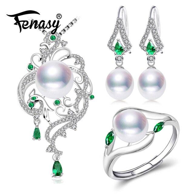 FENASY perle bijoux ensembles perle pendentif collier boucles d'oreilles pour femmes bohème 925 argent sterling émeraude grand pendentif de mariage