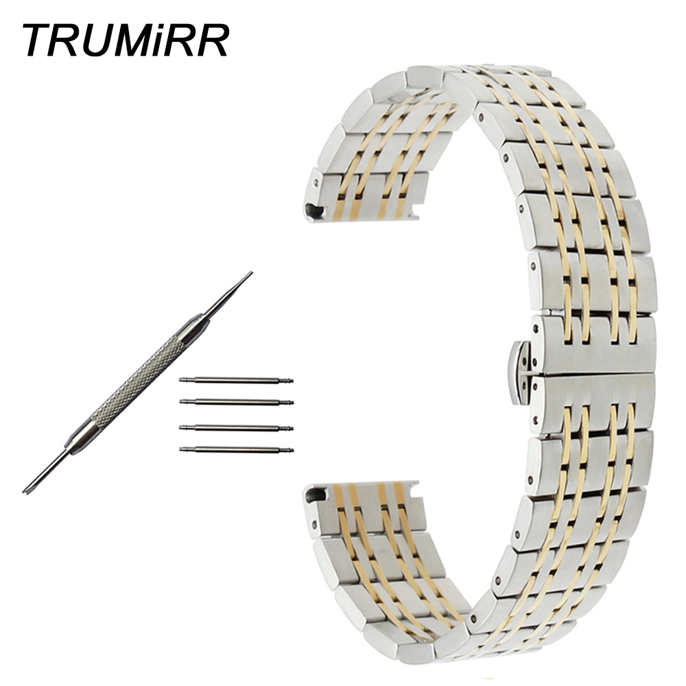 18mm 20mm 22mm Stainless Steel Watchband for Tissot 1853 T035 <font><b>PRC</b></font> <font><b>200</b></font> T055 T097 Butterfly Buckle Strap Wrist Belt Link Bracelet image