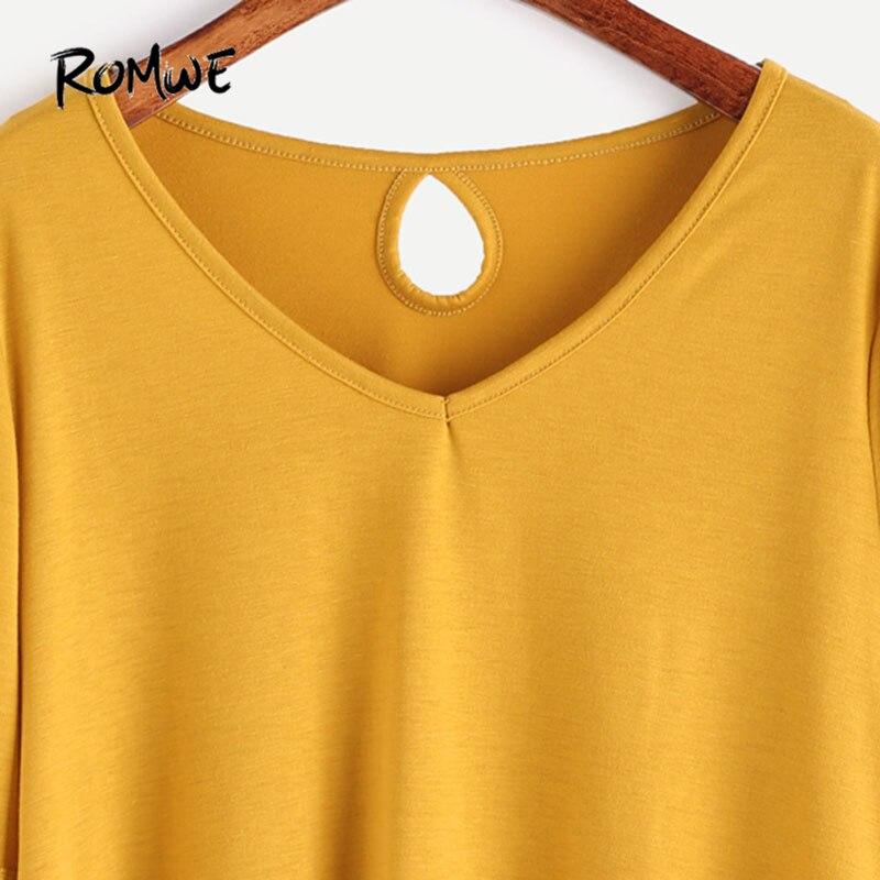 d9475fcff ROMWE Crochet Yellow Boho Tops V Neck T shirt 2017 Women Vintage Keyhole  Back Tops Fall Fashion Contrast Long Sleeve New T shirt-in T-Shirts from  Women's ...