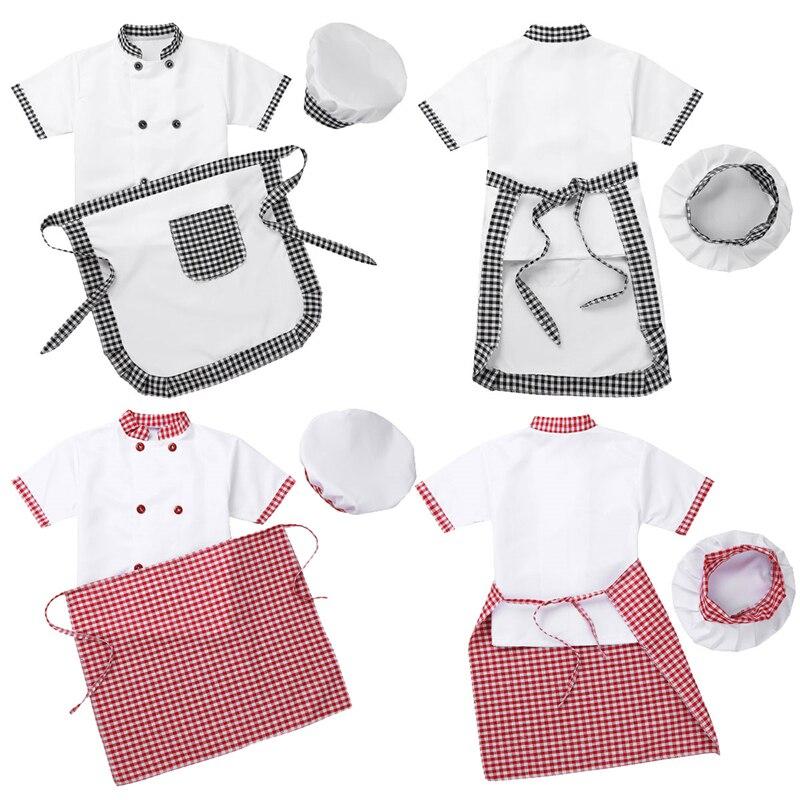 Children Unisex Chef Uniform Kids Boys Girls Chef Jacket with Apron Hat Kitchen Cook Cosplay Party Halloween Costume Set 2