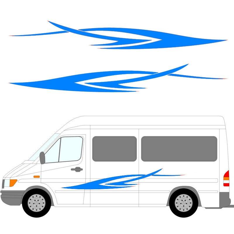HotMeiNi 2x Run Dynamic Art Stripes Car Styling Sticker Caravan Bus Travel Trailer Camper Van Vinyl Decals Young Leisure Holiday