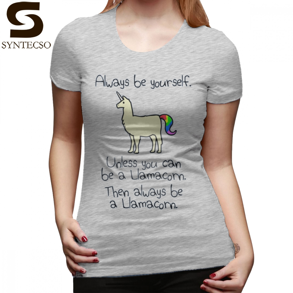 Unicorn T-Shirt Always Be Yourself Unless You Can Be A Llamacorn T Shirt Navy Short-Sleeve Women tshirt XXL Ladies Tee Shirt