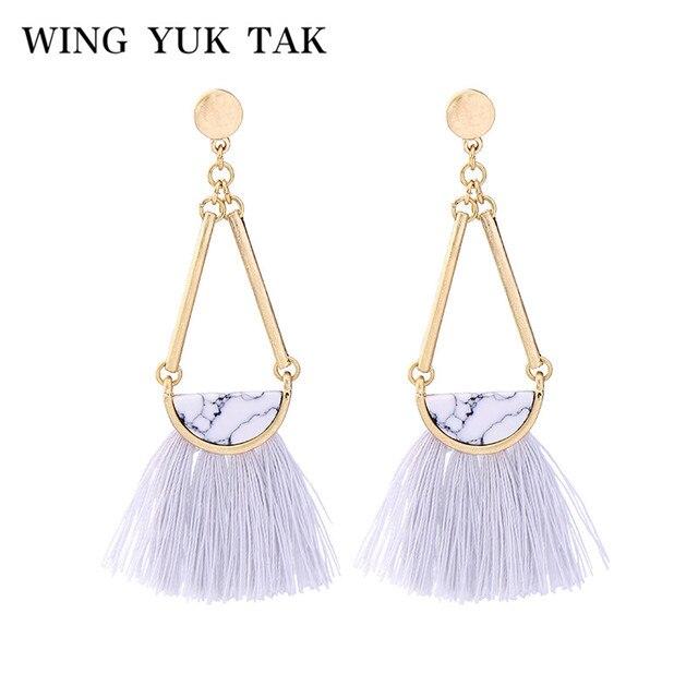 Wing Yuk Tak Brinco Hot Sale New Bohemia Square Stone Tassel Earrings for Women Statement Fringe Bijoux Party Fashion Jewelry