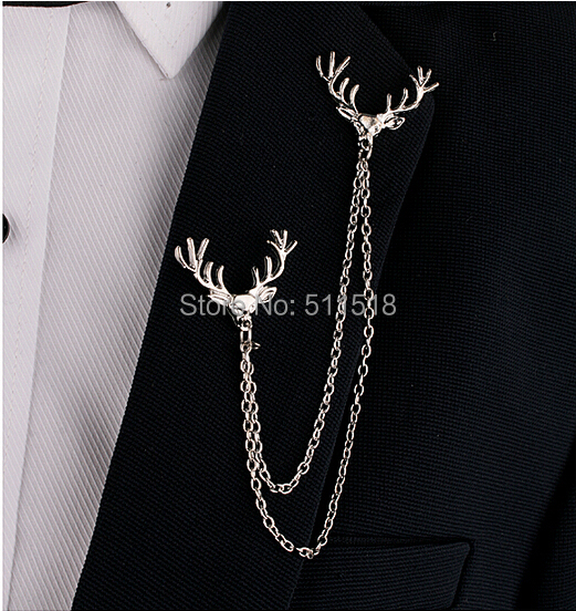 US $1 32 49% OFF|LM B057 Original Retro elk collar pin chain tassel double  lapel pin brooch men and women collar button free shipping-in Brooches from
