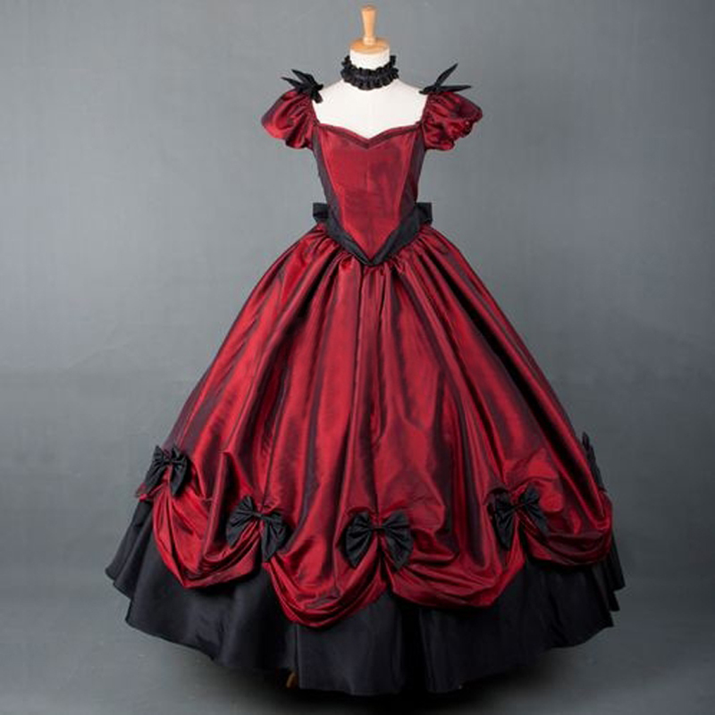 Plus size American Retro victorian lolita dress party gothic prom dress long lolita costumes