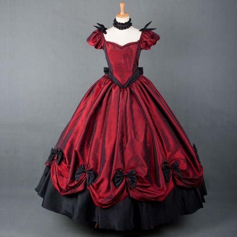 Robe lolita victorienne rétro américaine de grande taille robe de bal gothique longue lolita costumes