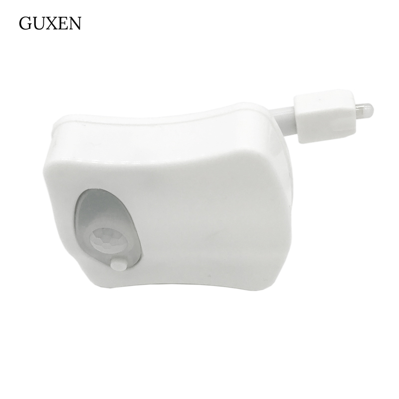 GUXEN Led Night light 8 Color Changing LED Toilet light Bathroom Light PIR Motion Activated Seat Sensor use for AAA battery