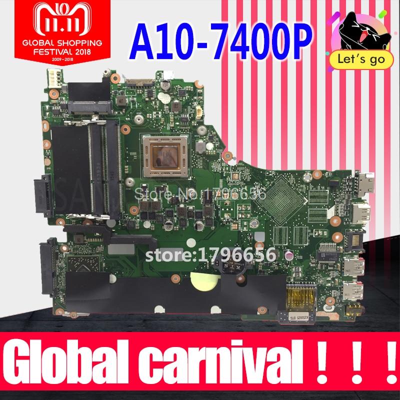 X550ZA Laptop motherboard para ASUS X550ZA X550ZE X550Z X550 K550Z X555Z VM590Z A10-7400P LVDS Teste mainboard original GM x550ze motherboard a8 7200 lvds interface for asus vm590z x550ze k555z a555z x555z k550z laptop motherboard x550ze mainboard