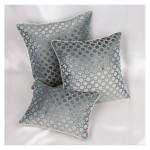 Popular Blue Geometric Pattern Cushion Cover European Luxury Velvet pillow  EM82