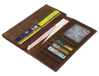 Genuine Leather Wallet Men Long Business Slim Wallet Cow Leather Wallet
