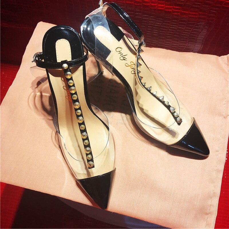 Darmowa wysyłka moda kobiety pompy czarne buty ze skóry lakierowanej, kolce t pasek wysokie obcasy kostki strappy sandały buty 10 cm 12 cm 8 cm w Wysokie obcasy od Buty na  Grupa 2
