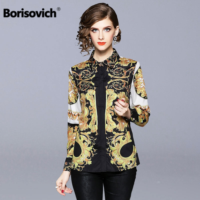 Borisovich Vintage Print Women Casual   Shirt   New Brand 2018 Autumn Fashion EuropeStyle Elegant Luxury Female   Blouses     Shirts   M969