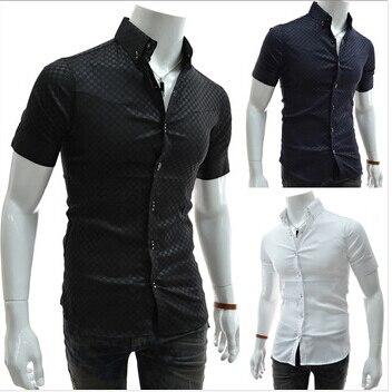 Завод прямого новый 2016 бутик модной одежды человек с коротким рукавом рубашки мужская одежда отдых чистый цвет лацкан рубашки случайные люди рубашка