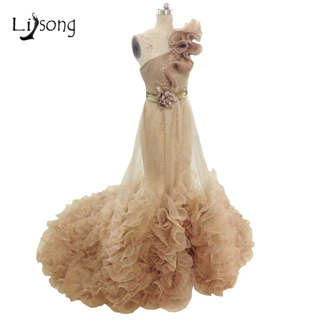 Couture High End Champagne Evening Dresses Mermaid Long Formal Gowns ...